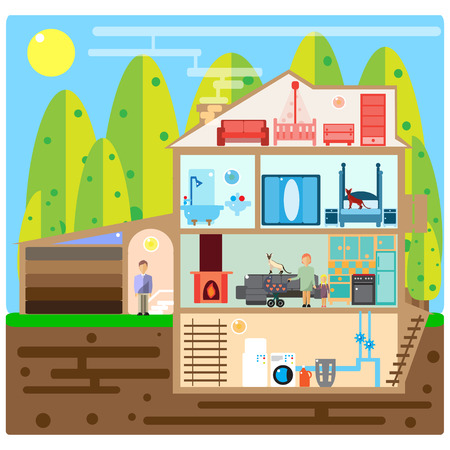 outdoor advertising construction: Modern house interior. Rooms with furniture. Flat vector illustration. Illustration