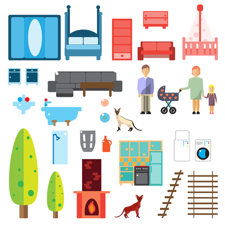 abyssinian: Modern house interior. Furniture Icons. People. Isolated. Flat vector illustration.
