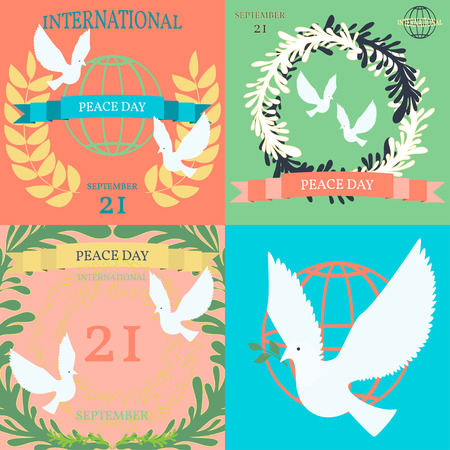International Day of Peace Poster Templates with white dove.