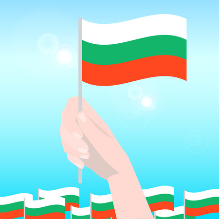 national holiday: Hands Holding Bulgarian Flags. Happy Independence Day. Vector Illustration.