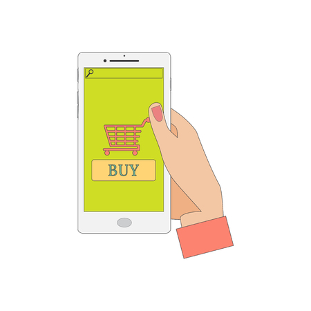 holding smart phone: Human Hand Holding a Smart Phone. Mobile Shopping. Vector Illustration.