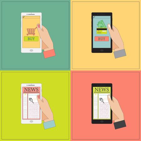 media gadget: Human Hand Holding a Smart Phone. Vector Illustration. Illustration