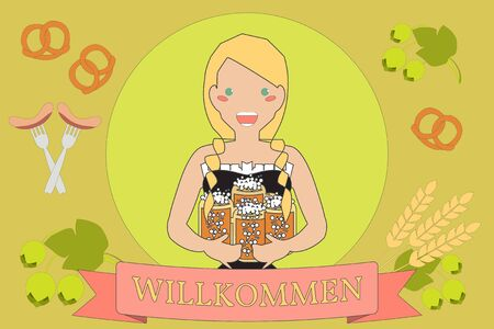 oktoberfest background: Oktoberfest Background. Vector Cartoon Character with Beer in Traditional Style. Illustration