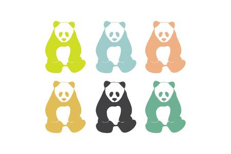 oso panda: Siluetas de osos panda. Iconos Panda. Elemento de Logo. Símbolo del vector. Aislado en el fondo blanco. Vectores
