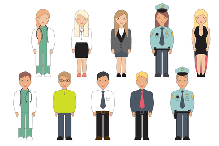 mayor: Set of icons of characters in professional clothes. Vector Illustration. Illustration