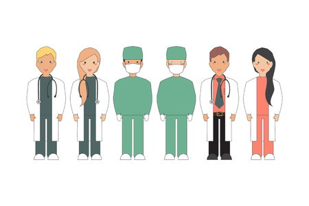 mayor: Health care. Vector Illustration of Doctors and surgeons.