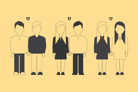 homosexual partners: Traditional and Nontraditional homosexual Partners. Vector Illustration.
