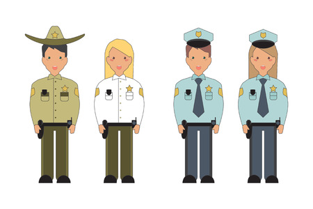 mayor: Police officers, police man and police woman, sheriff and woman agent. Isolated on white background. Profession vector illustration.