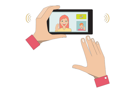Male Hand Holding a Black Phone. Close-up of Man Having Video Chat with Woman. Vector Illustration.