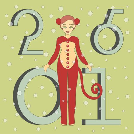 monkey suit: Vector Illustration of cute girl in suit of Monkey. Happy New Year Background.