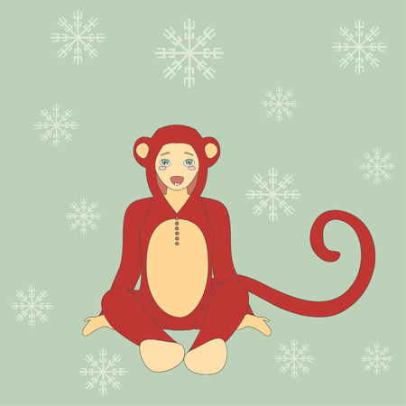 monkey suit: Vector Illustration of cute little boy in suit of monkey. Happy New Year Background.