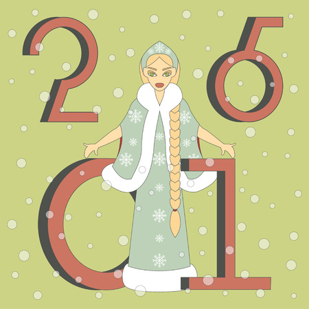 maiden: Vector Illustration of Snow Maiden. Happy New Year Background. Illustration