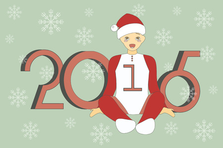 santa suit: Vector Illustration of cute little boy in suit of Santa Claus. Happy New Year Background.