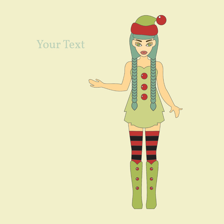 santa helper: Happy New Year 2016. Year of the Monkey. Vector Illustration of Elf Cartoon Character. Cute Santa Helper. Illustration