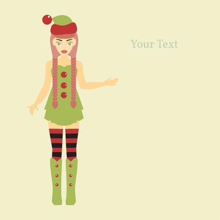 helper: Merry Christmas and Happy New Year 2016. Year of the Monkey. Vector Illustration of Elf Cartoon Character. Cute Santa Helper.