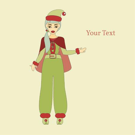 helper: Merry Christmas. Vector Illustration of Elf Cartoon Character. Cute Santa Helper. Happy New Year 2016. Year of the Monkey. Illustration