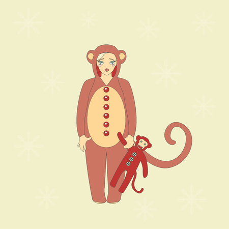 monkey suit: Illustration of cute girl in suit of a monkey. Illustration