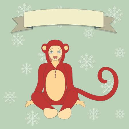 cute little boy: Illustration of cute little boy in suit of a monkey. Happy New Year Background. Illustration