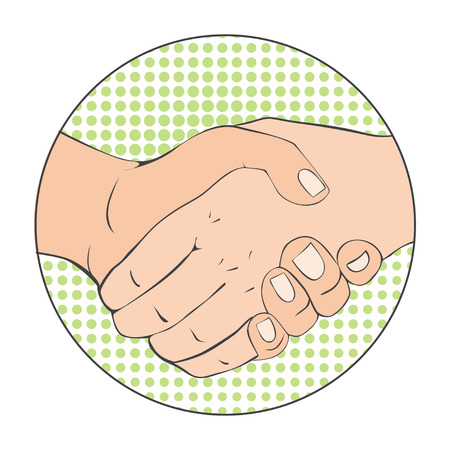 Close-up of Business People Shaking Hands. Vector Illustration in retro style. Pop art business concept. Çizim