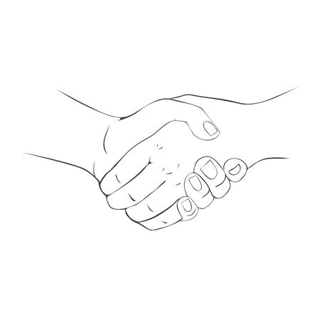 Close-up of Business People Shaking Hands. Vector Illustration.