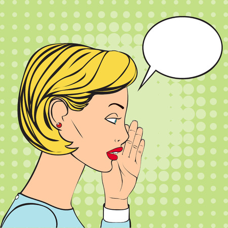 whispering: The Blonde Woman whispering a secret. Vector Illustration in retro style. Speech Bubble for the text.