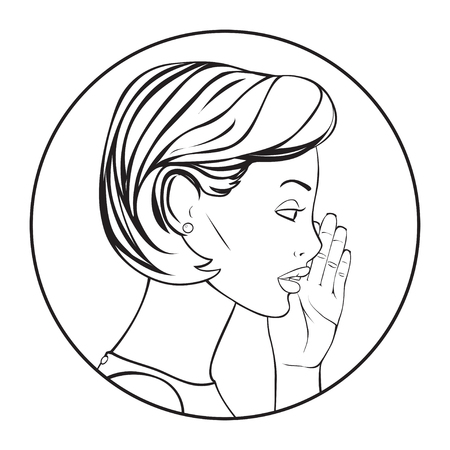 whispering: The Pretty Woman whispering a secret. Vector Illustration.