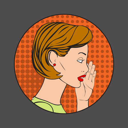 whispering: The Pretty Woman whispering a secret. Vector Illustration in retro style.