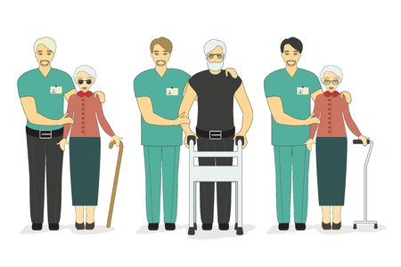 Senior patients and young doctors. Help disabled old people and man volunteers. Vector illustration. Illustration