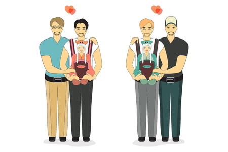 bisexuality: Vector Illustration of a Happy Gay Couple with a Baby. Isolated on white background.