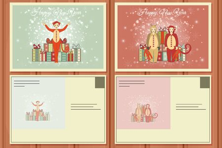 santa helper: Christmas Set of a Postcards. Vector illustration of a Cute Christmas Deer and Santa Helper Girl. Happy Santa Claus. Christmas Background.