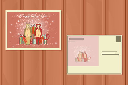 girl happy: Christmas Set of a Postcards. Vector illustration of a Cute Christmas Deer and Santa Helper Girl. Happy Santa Claus. Christmas Background.