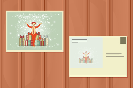 monkey suit: Christmas Postcard. Vector illustration of a Cute Girl in suit of a Red Monkey. New Year Background. Illustration