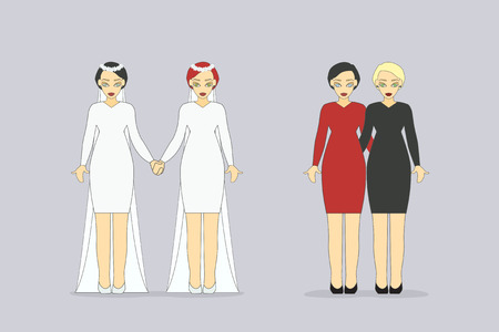 marriage night: Vector Illustration of a Happy Lesbian Couples. Wedding dress.