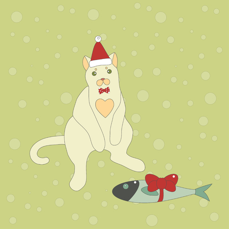 cat suit: Vector illustration of a cute cat with a personal Christmas gift. Christmas background.