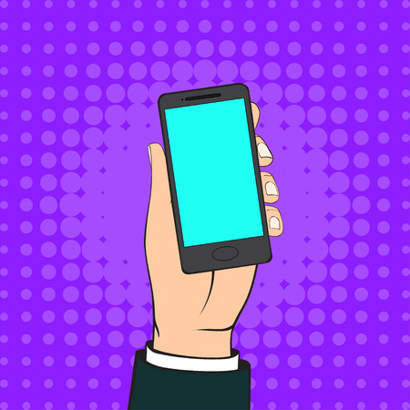 hand holding smart phone: Human Hand Holding a black Smart Phone. Vector Illustration in retro style.