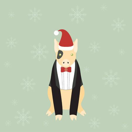 dinner jacket: Illustration of a cute little pig in a dinner jacket. Christmas background.