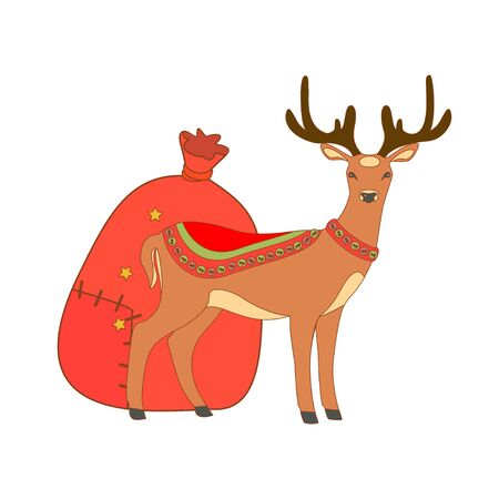 santa sack: Vector illustration of cute deer and Santa sack. Christmas background. Illustration