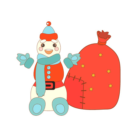 santa sack: Vector illustration of cute snowman and Santa sack. Christmas background.
