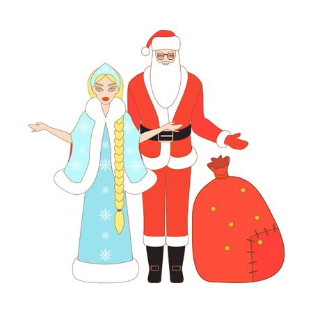 snow maiden: Vector illustration of Santa Claus, Snow Maiden and Santa sack. Christmas background.