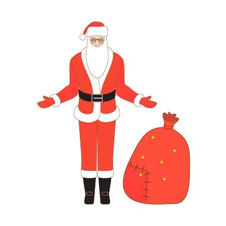 santa sack: Vector illustration of Santa Claus and Santa sack. Christmas background.