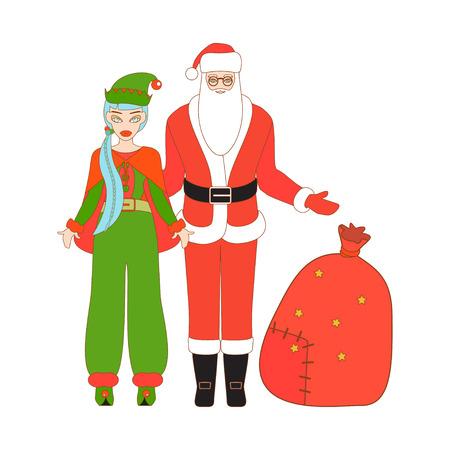 santa helper: Vector illustration of Santa Claus, Santa Helper and Santa sack. Christmas background.