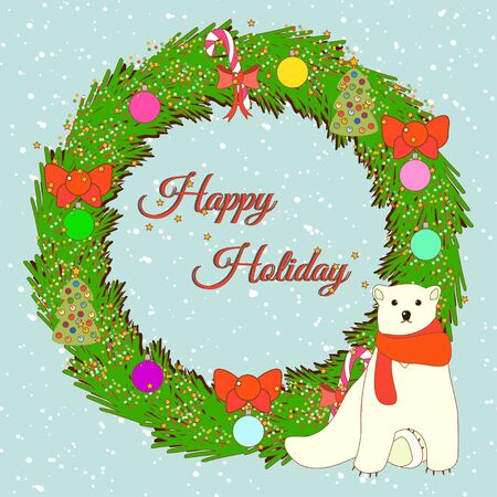 christmas greeting card: Greeting card with Christmas wreath. Vector illustration. Illustration