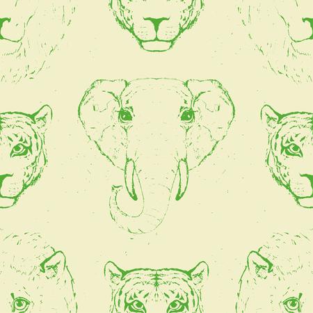 Nahtlose Muster von Wildtierköpfe für auf Stoff gedruckt wird. Vektor-Illustration.