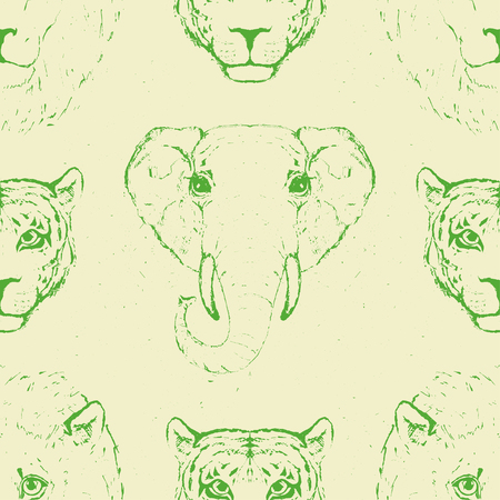 Seamless Pattern of Wild Animal heads for printing onto fabric. Vector illustration.