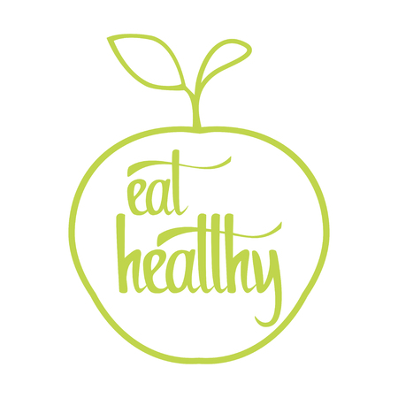 eat healthy: Eat healthy lettering design. Healthy lifestyle. Vector illustration.