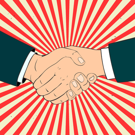 Close-up of Business People Shaking Hands. Illustration in retro style.