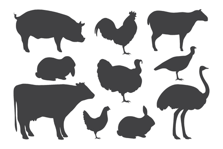 illustration of Farm animal silhouettes.