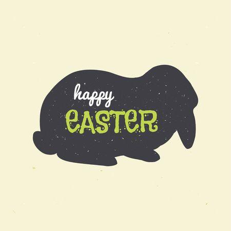 Ilustración feliz Pascua. Silueta de conejo negro.