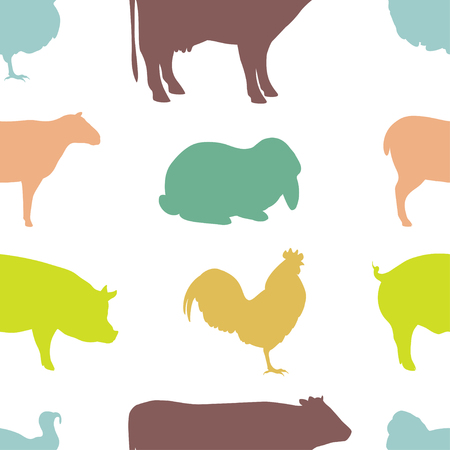 cartoon hare: Colorful seamless Pattern for printing onto fabric. Farm Animal silhouettes.