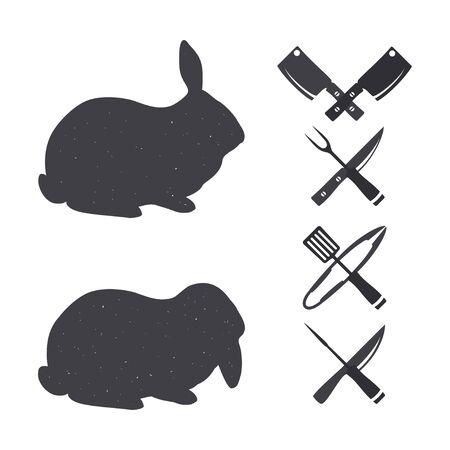 carniceria: Siluetas negras de un conejo. Elementos del diseño de la carnicería. Aislado en un blanco.